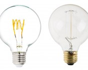 Flexible Filament LED Bulb - G25 Carbon Filament Style Bulb - 25 Watt Equivalent - Spiral Quad Loop - Dimmable: Size Comparison to Incandescent Bulb