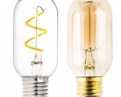 Flexible Filament LED Bulb - T14 Carbon Filament Style Bulb - 25 Watt Equivalent - Spiral Loop - Dimmable: Size Comparison to Incandescent Bulb