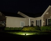 30 Watt LED Flood Light Fixture - Low Profile: Shown Illuminating House In Natural White.