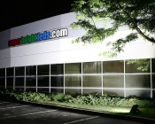 LED Area Light - 160W (500W HID Equivalent) - 5000K/3000K - 20,000 Lumens: Shown Lighting Wall And Building Sign.