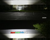 100W LED Area Light - Natural White - 12,500 Lumens: Shown Lighting Building Wall And Sign In 100W (Top) And 150W (Bottom).