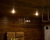 "5-1/2"" Flush Mount LED Ceiling Light - 80 Watt Equivalent - Dimmable: Shown Installed On Garage Ceiling In Warm White."