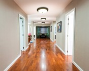 "15"" Flush Mount LED Ceiling Light w/ Oil Rubbed Bronze Housing - Dimmable: Installed on Ceiling in Home Hallway"