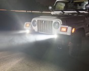 """LED Fog Light - 3"""" Square - 25W: Shown Installed On Jeep."""