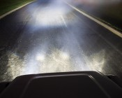 """LED Fog Light - 3"""" Square - 25W: Installed On Jeep And Showing Beam Pattern."""