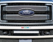 """Ford F-250 Super Duty (11-2015) Hidden Bumper LED Light Bar Mount - Straight 20"""" Single Row LED Light Bars: Shown Installed With 20"""" Pro Series Light Bar (Sold Separately)."""