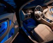 194 LED Bulb - 3 SMD LED - Miniature Wedge Retrofit: Shown Installed In Footwell In Blue.