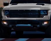 Low Profile LED Mini Strobe Light Bezels: Dual Black Bezel Installed in Ford Truck