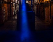Blue LED Safety Light w/ Square Beam Pattern: Installed on Forklift Showing Beam with Fog