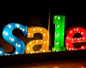 G11 LED Bulb - 8 SMD LED Globe Bulb: Colored Bulbs Installed in Sign Letters