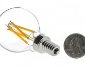 LED Filament Bulb - G14 LED Candelabra Bulb with 4 Watt Filament LED - Dimmable: Back View With Size Comparison
