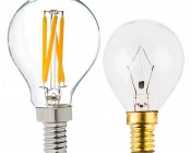 LED Filament Bulb - G14 LED Candelabra Bulb with 4 Watt Filament LED - Dimmable:Profile View With Size Comparison To Incandescent Bulb