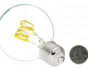 Flexible Filament LED Bulb - G25 Carbon Filament Style Bulb - 25 Watt Equivalent - Spiral Quad Loop - Dimmable: Back View with Size Comparison