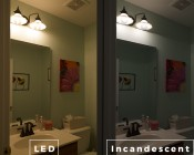 Flexible Filament LED Bulb - G25 Carbon Filament Style Bulb - 30 Watt Equivalent - Heart - Dimmable - 282 Lumens: Incandescent and LED Comparison Over Bathroom Sink