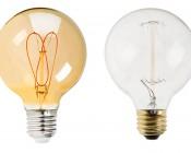 Flexible Filament LED Bulb - G25 Carbon Filament Style Bulb w/ Gold Tint - 20 Watt Equivalent - Heart - Dimmable: Size Comparison to Incandescent Bulb