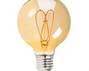 Flexible Filament LED Bulb - G25 Carbon Filament Style Bulb w/ Gold Tint - 20 Watt Equivalent - Heart - Dimmable