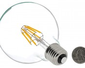 LED Filament Bulb - G30 LED Candelabra Bulb with 5 Watt Filament LED - Dimmable: Back View With Size Comparison