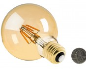 LED Filament Bulb - Gold Tint G30 LED Bulb with 6 Watt Filament LED - Dimmable: Back View With Size Comparison