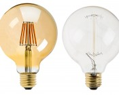 LED Filament Bulb - Gold Tint G30 LED Bulb with 6 Watt Filament LED - Dimmable: Profile View With Size Comparison To Incandescent Filament Bulb