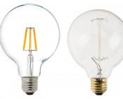 LED Filament Bulb - G30 LED Candelabra Bulb with 5 Watt Filament LED - Dimmable: Profile View With Size Comparison To Incandescent Filament Bulb