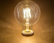 LED Filament Bulb - G30 LED Bulb with 5 Watt Filament LED - Dimmable: Turned On