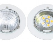 6HP-LED Disc G4 Lamp compared with Halogen G4 Bulb in fixture