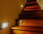 G4 LED Bulb - 10 Watt Equivalent - Bi-Pin LED Bulb: Shown Lighting Stairs In Warm White.