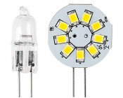 G4 LED Bulb - 2 Watt (20 Watt Equivalent) Bi-Pin LED Disc - White: Front Comparison View