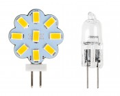 G4 LED Bulb - 25 Watt Equivalent - Bi-Pin LED Disc - 230 Lumens: Front View With Incandescent Size Comparison
