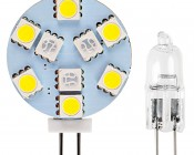 G4 LED Bulb - Dual Color - Bi-Pin LED Disc: Profile View with Size Comparison to Incandescent G4 Bulb