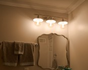 G40 LED Filament Bulb - Gold Tint Vintage Light Bulb - 65 Watt Equivalent - Dimmable - 650 Lumens: Installed In Vanity Fixture