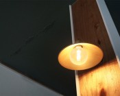 G40 LED Filament Bulb - Gold Tint Vintage Light Bulb - 65 Watt Equivalent - Dimmable - 650 Lumens - Shown in Light Fixture