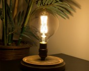 G40 LED Filament Bulb - Gold Tint Vintage Light Bulb - 65 Watt Equivalent - Dimmable - 650 Lumens - Installed in Decorative Fixture