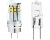 G8 LED Bulb, 36 High Power LEDs: Profile View and Comparison To Halogen Bulb