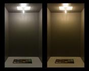 G9 LED Bulb - 25 Watt Equivalent - Bi-Pin LED Filament Bulb: Shown On In Natural White (Left) And Warm White (Right).