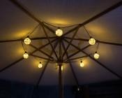 G30/G95 LED Fairy Light Bulbs - 48 Lumens - Warm White Shown Strung Under an Umbrella With String Light  LS10-E26