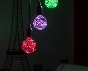 G30/G95 LED Fairy Light Bulbs - 48 Lumens - Accent Lighting in Room Shown in Red, Purple and Green