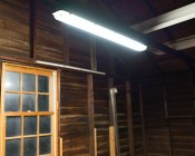 T8 LED Vapor Proof Light Fixture for 2 LED T8 Tubes - Industrial LED Light - 4' Long: Shown Installed In Garage With Natural White T8 Bulbs (Bulbs Sold Separately).