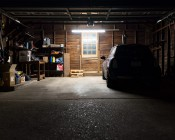 50W Linkable Linear LED Light Fixture - Industrial LED Light - 5' Long: Shown Hanging In Garage.