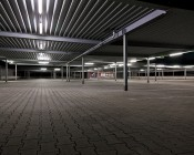 50W Linkable Linear LED Light Fixture - Industrial LED Light - 5' Long: Shown Installed In Parking Garage In Natural White.