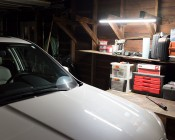Linkable Linear LED Light Fixtures - T5 Low Voltage LED Lights: Shown In Garage Installed Over Workbench.