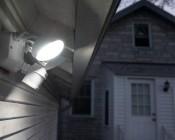 LED Motion Sensor Light - 2 Head Security Light - 24W: Shown Installed On Side Of Garage.