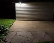 LED Motion Sensor Light - 3 Head Security Light - 30W: Shown Illuminating Patio Area.