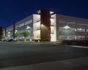 LED Retrofit Kit for 250W HID Fixtures: Shown Installed In Parking Garage Exterior Wall Packs.