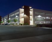 LED Retrofit Kit for 320W HID Fixtures: Shown Installed In Parking Garage Exterior Wall Packs.