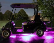 LED Golf Cart Lighting Kit - Multi-Strip Remote Activated RGB Color Changing Kit: Shown Installed On Golf Cart And On In Magenta, Blue, Green, Red, And Yellow.