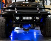 LED Golf Cart Lighting Kit - Multi-Strip Remote Activated RGB Color Changing Kit: Shown Installed Under Golf Cart.