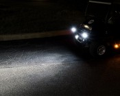 "LED Golf Cart Light - 4"" Mini Aux - 20W: Shown Installed On Golf Cart (Top Lights On Front Of Golf Cart)."