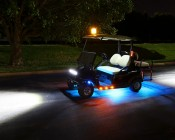 "Round LED Golf Cart Lights w/ Grommet - 3/4"" Side Clearance Light: Shown Installed On Golf Cart Near Footwell."