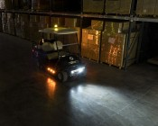 "3-3/4"" Amber LED Strobe Light Beacon with 5 LEDs: Shown Installed On Golf Cart."